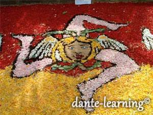 花弁で装飾されたシチリア州旗